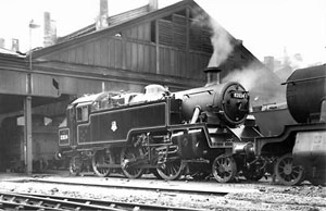 82024 on Swindon shed in light steam 2 days after completion, 31st October 1954