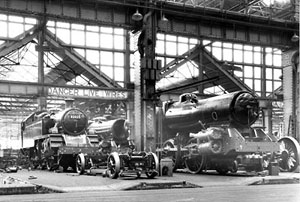 82023, 82025 and 82028 under construction in Swindon Erecting shop. 31st October 1954