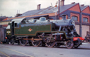 82030 at Swindon Works freshly outshopped in lined green livery. 18th October 1959