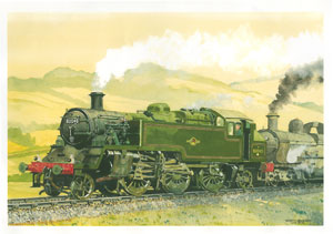 What might have been: in this scene, painted by Edinburgh based railway artist Robin Barnes, an almost-new 82045 pilots a GWR 'Dukedog' on the Cambrian in the spring of 1956.